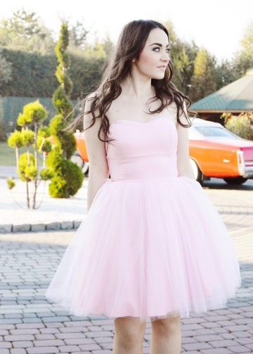 Curve Strapless Satin Tulle Short Pink Homecoming / Sweet 16 Dress