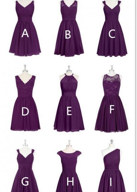 Custom Made Short/Long Chiffon Bridesmaid Dress Mismatched