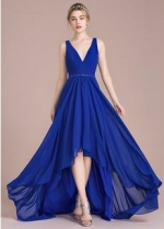 Custom Made Royal Blue Bridesmaid Dress High Low Chiffon Skirt