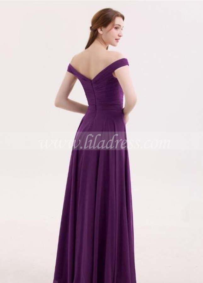 Chiffon Long Grape Bridesmaid Dresses with Off-the-shoulder