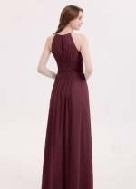 Cabernet Long Chiffon Wedding Guests Dresses with Pleated Bodice