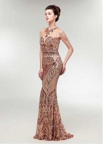 Elegant Sequin Lace Jewel Neckline Sheath/Column Evening Dress