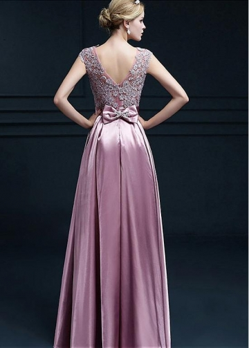 Lavish Stretch Charmeuse Satin Scoop Neckline Floor-length A-line Evening Dresses