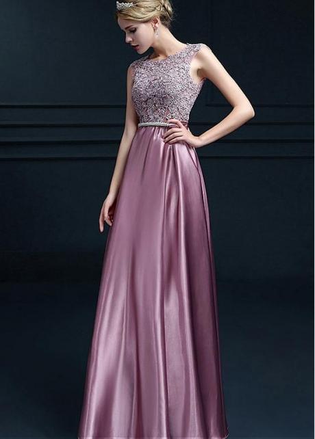 Lavish Stretch Charmeuse Satin Scoop Neckline Floor-length A-line Evening Dresses