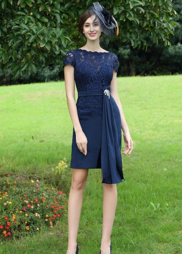 Sheer Lace Bateau Neck Chiffon Navy Blue Short Bride Mother Dress with Sleeves
