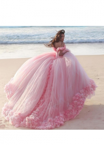 Castle Style Ruffled Flowers Tulle Pink Ball Gown Wedding Dresses