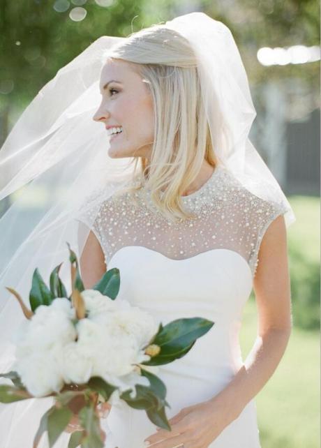 Crystals Beaded Cap Sleeves Satin Wedding Dress Mermaid Style