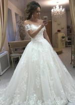 Chic Lace Wedding Dress Gowns with Off-the-shoulder Sleeves