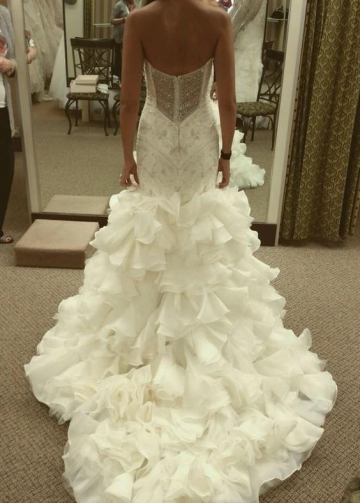 Curve-Hugging Beaded Wedding Dresses with Ruffled Textured Skirt