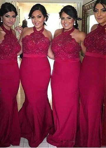 Romantic Halter Neckline Mermaid Bridesmaid Dresses With Lace Appliques