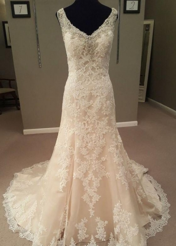 Crystals V-neckline Sheath Wedding Dress Lace Chapel Train