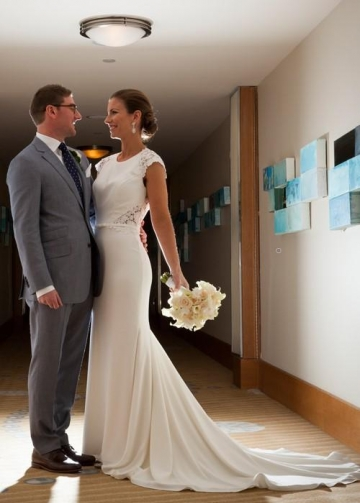 Cap Sleeves Lace Satin Wedding Gown with Sweep Train