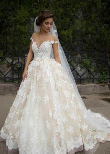 Cap Sleeves Lace Wedding Dress with Transparent Neckline