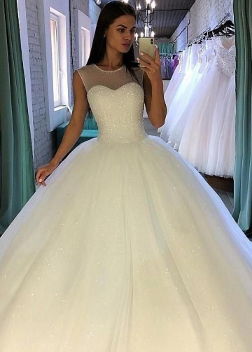 Crystals Ball Gown Illusion Neckline Bridal Dress with Sequin Tulle Skirt