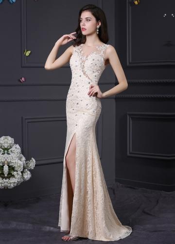 Elegant Lace Jewel Neckline Mermaid Formal / Prom Dresses