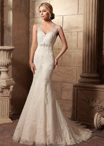 Classic V-neckline Mermaid Wedding Dress Lace Chapel Train