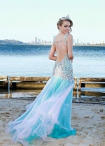 Colored Rhinestones Low Back Prom Long Pageant Dresses