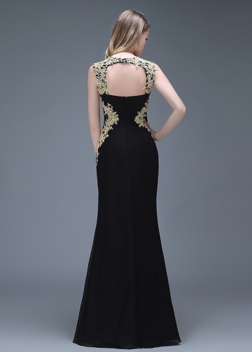 Elegant Chiffon Black Mermaid Evening / Prom Dresses