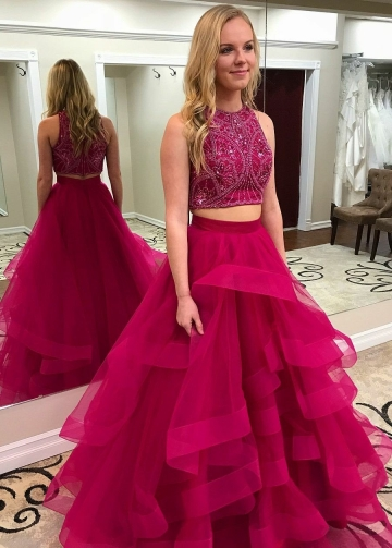 Crystals and Beaded Prom Dress Two Pieces Formal Dresses