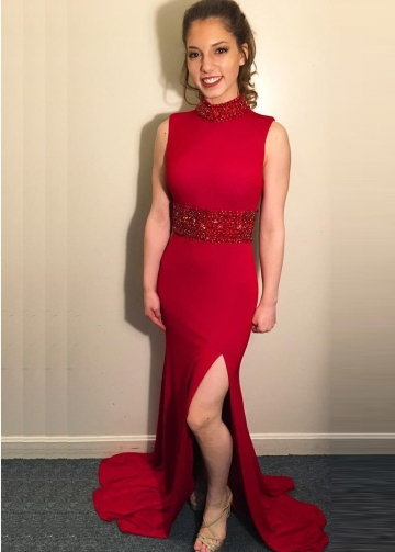 Crystals and Bead Red Prom Dresses with Slit Side