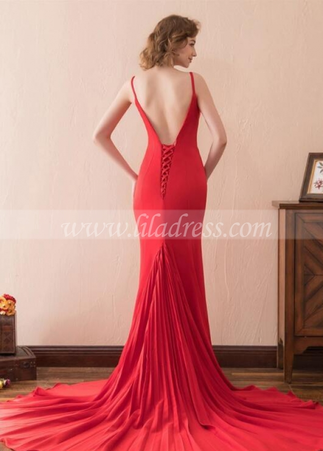 Close-fitting Red Simple Prom Evening Dresses with Pleated Train