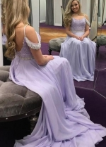 Chiffon Long Lavender Evening Prom Dress with Beaded Bodice