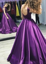 Cap Sleeves Satin Purple Prom Dress Gown Backless