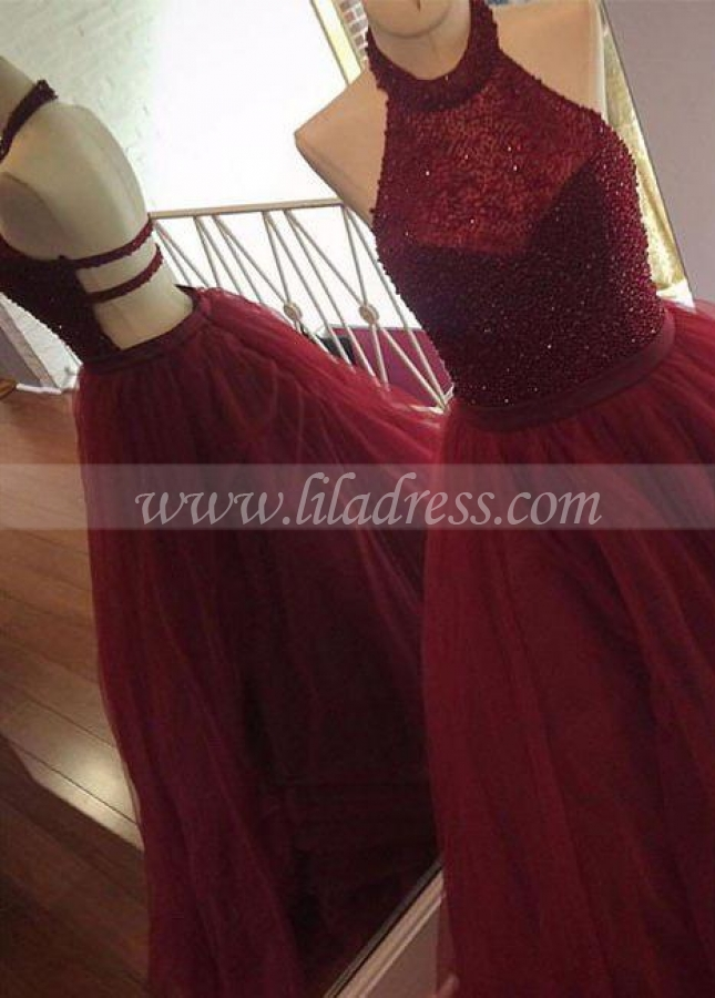Clustered Rhinestones Halter Prom Dress Burgundy Tulle Skirt