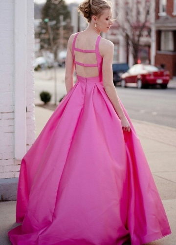 Crossed Halter Satin Formal Prom Gowns with Parallel Straps Back