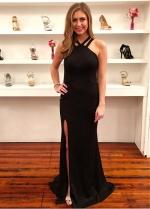 Absorbing Black Halter Neckline Sheath/Column Evening Dress With Slit
