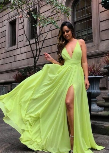 Chiffon Long Prom Gown with Leg Slit Side