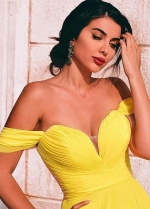 Chiffon Long Yellow Prom Dresses with Off-the-shoulder