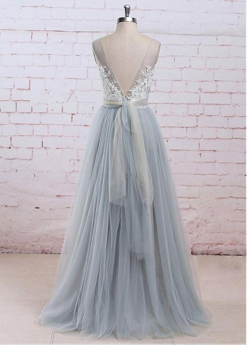 Amazing Tulle V-neck Neckline See-through Bodice A-line Bridesmaid Dress With Lace Appliques & Belt