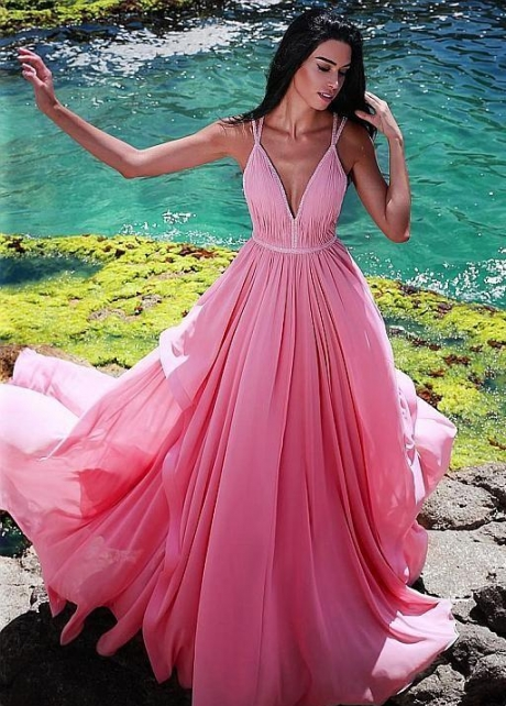 Chiffon Long Pink Dresses for Prom Party Gown with Pleated V-neckline Bodice