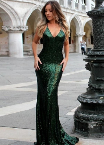 Close-fitting Bodice Dark Green Sequin Prom Dresses Online