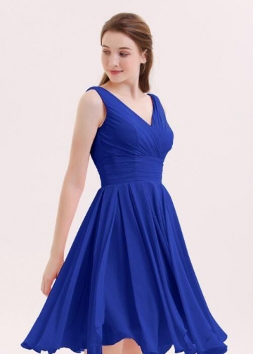 Chiffon Royal Blue Bridesmaid Short Dresses with V-neckline