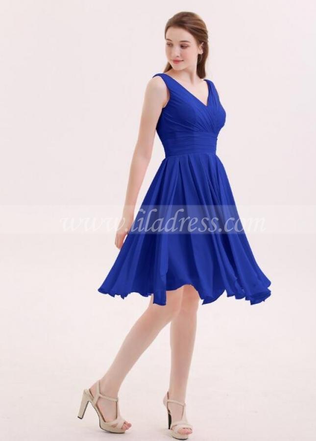 Chiffon Royal Blue Bridesmaid Short Dresses with V-neckline