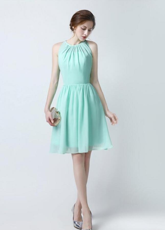 Chiffon Sleeveless Mint Green Bridesmaid Dress Short