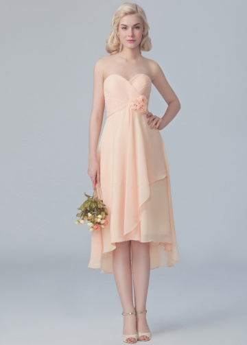 Chiffon Sweetheart Hi-lo Bridesmaid Dresses with Flower Sash
