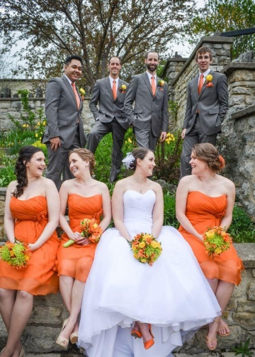 Curve Strapless Chiffon Orange Bridesmaid Dress Short