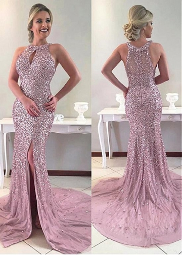 Wonderful Jewel Neckline Sheath / Column Prom Dress With Slit