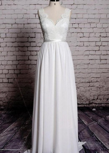 Chiffon and Lace Pinterest Backless Wedding Dresses Beach