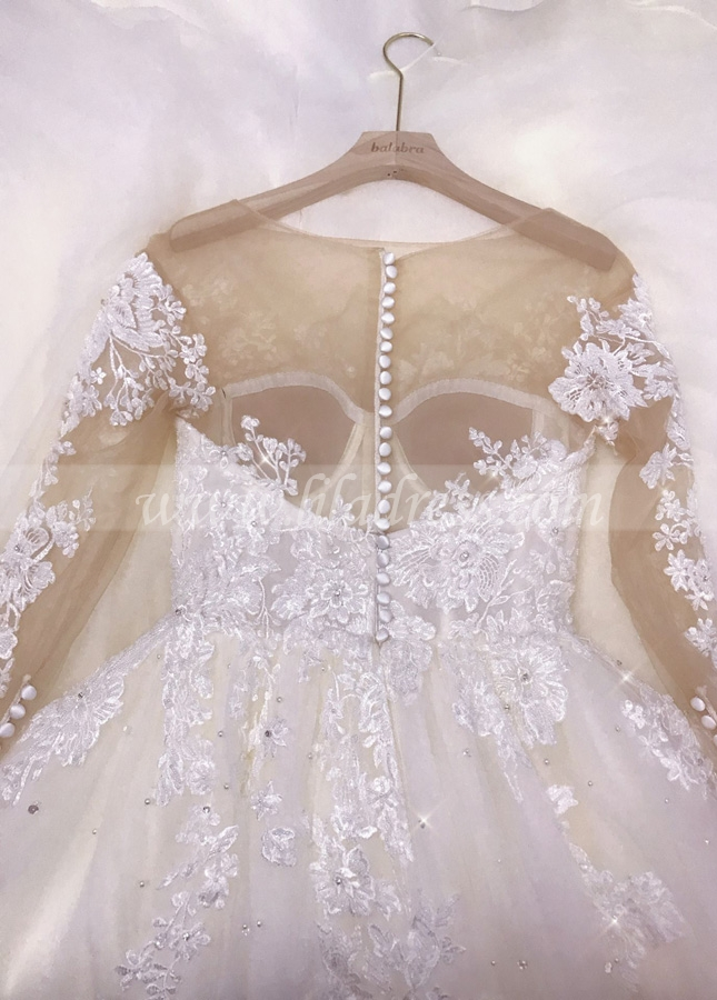 Cathedral Train Wedding Dress with Lace Long Sleeves