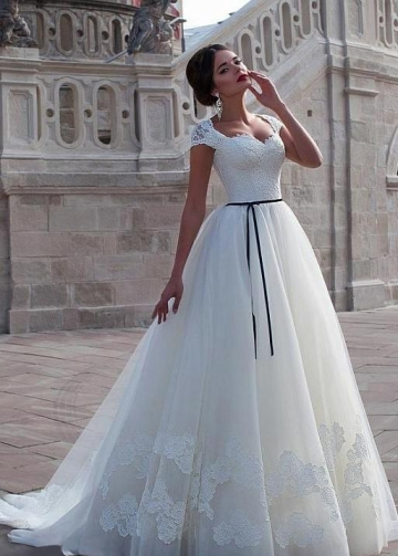 Classic Lace Cap Sleeves Wedding Dress with Black Belt