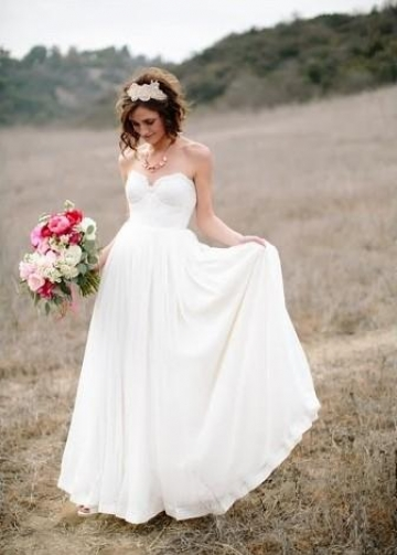 Chiffon Rustic Wedding Dresses with Lace Sweetheart Bodice