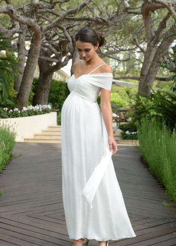 Chiffon Maternity Wedding Dress for Photo Shoot