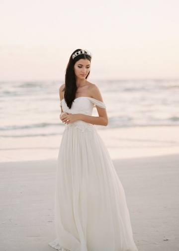 Chiffon Beach Wedding Dress with Lace Bodice