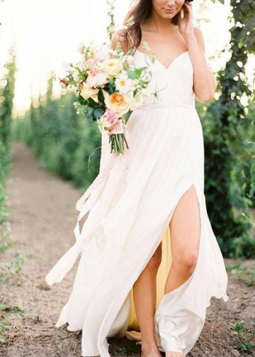Chiffon Summer Beach Wedding Dresses with Slit Side