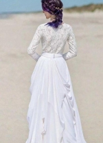 Chiffon Skirt Boho Wedding Dresses Lace Long Sleeves