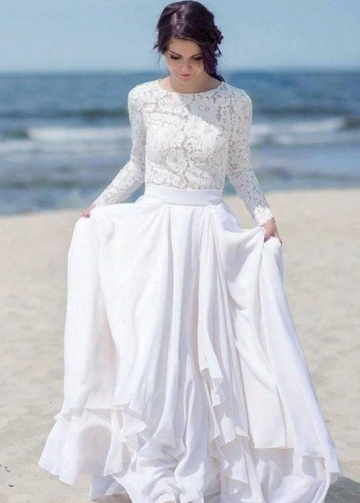 Chiffon Skirt Boho Wedding Dresses Lace Long Sleeves